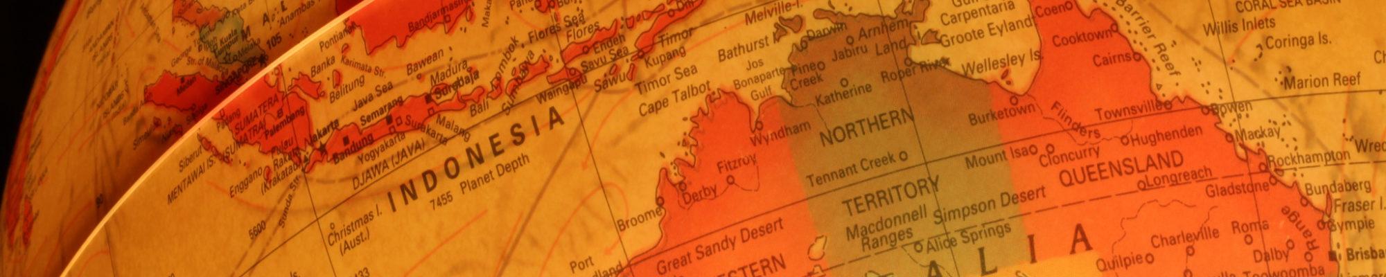 Globe terrestre avec le continent Australie en gros plan