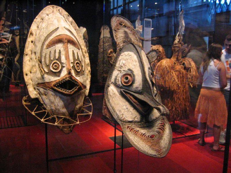 Masques aborigènes au musée du Quai Branly, Paris